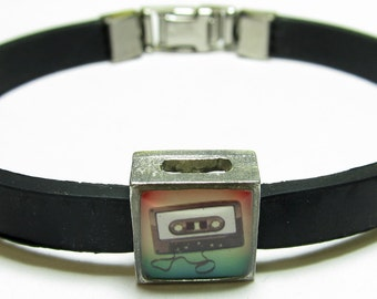 Retro Cassette Tape Music Link With Choice Of Colored Band Charm Bracelet