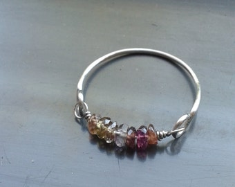 Multicolored Zircon & Stainless Steel Ring, Size 7 1/2 - Minimalist, May Birthstone, Stacking Rings, Layering Jewelry, Precious Stones