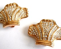 Signed Swarovski  Clip Earrings Gold Plated with Pave Crystals New Swan Logo