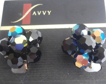 Swarovski Savvy Jet Black AB Crystal Beads Clip Earrings New