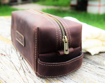 Personalized Travel Bag for Him/Leather men's toiletry bag /Waxed Leather Kit /Groomsman Gift/Dark Coffee Brown Bag/