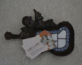 Broken China Cast Iron Angel Business Card Holder Soap Dish