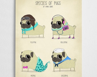 Cute pug art print. dog poster, pet illustration // Species of Pugs