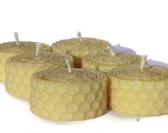 100 percent Beeswax Candles - Honeycomb Candles - Set of 6 - Rolled beeswax candles