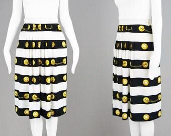 Vintage 80s Baroque Print Skirt Pleated Skirt High Waist Skirt Scarf Print Skirt Nautical Print Skirt Black & White Striped Skirt Mid Length