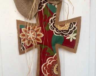 Large Floral Print and Burlap Cross Door Hanger