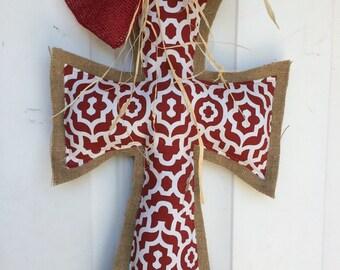 Geometric Pizzazz Red print and burlap cross door hanger