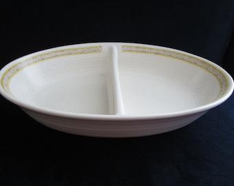 Vintage Franciscan Hacienda Yellow Divided Oval Vegetable Dish Bowl