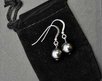 Charcoal Pearl Sterling Silver Drop Earrings