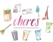 Chores, Cleaning, and Errands - Hand-painted watercolor digital clip art PNG & vector