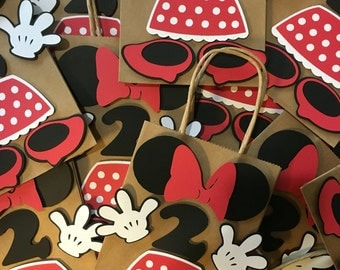 Minnie mouse birthday party favor bag, goody bag, first birthday, decorations mickey mouse birthday favor bag