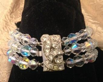 FABULOUS Three Strand CRYSTAL Bracelet
