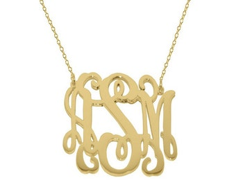 """Gold monogram necklace 1.25"""" any initial necklace gold plated 18k on .925 silver"""