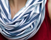 Striped blue jersey scarf, Blue and white infinity scarf, Gift for Her, Gift for Coworker, Stretchy circle scarf, Casual blue fashion scarf