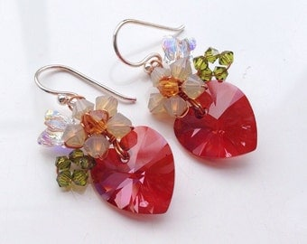 Red Heart Earrings, Minimal Jewelry, Swarovski, Red Earrings, Red Crystal Earrings, Drop Earrings, Heart Jewelry, Gifts for her
