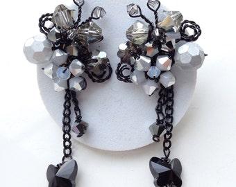 Black grey earrings - crystal jewellery - long earrings - dangle earrings - women jewellery - gifts for her