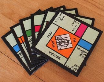 6 Monopoly Board Coasters,Original Monopoly Board,Upcycled Monopoly,Drinks Coaster,Upcycled Board Game,Monopoly Coasters,Old Board Game