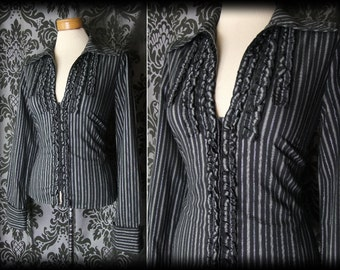 Goth Black Pinstripe Fitted GOVERNESS Frilled Bib Blouse 12 14 Victorian Vintage