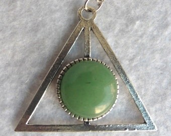 Green AVENTURINE Providence Necklace - Esoteric, All-seeing Eye, Geometric, Pyramid, Triangle, Crystal, Divination, Mystic, Pagan, Wicca