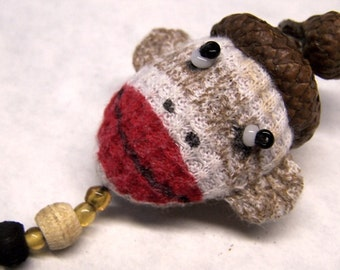 Cute As Can Be Sock Monkey Sewing Needle Emery/Pin Cushion with Acorn Cap - SM4