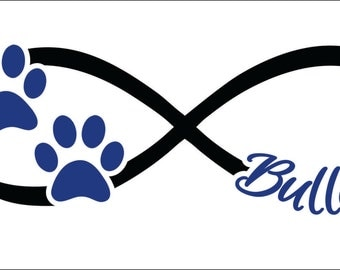 Bulldogs infinity paw prints instant digital download cutting vector file school mascot team 2 color