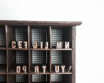 Vintage Wood Print Blocks Printmaking Letter Press Design Newsprint Newspaper Blocks Letters Numbers C E F G I L M N O P R T U Y !