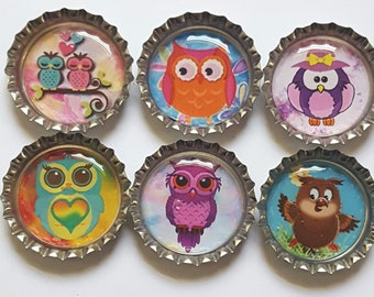 Owl Magnets cute owl magnets owl party favors Set of Six
