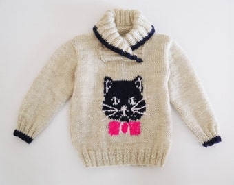 Knitting pattern for a cat and mice jumper, Sweater Knitting Pattern for Boy or Girl with Cat , Cat and Mice Knitting Pattern, download pdf