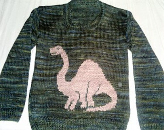 Knitting Pattern Jumper With Dinosaur : Knitting Pattern for Sweater with Dinosaur, Jumper Knitting Pattern for Boys ...