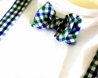 Body,baby bodysuits,set,bow,suspenders,blue,green,checked