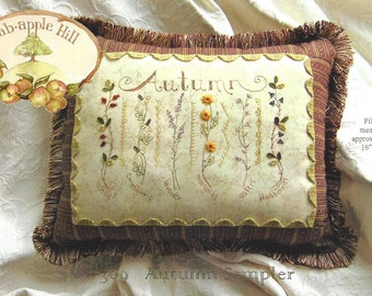Crabapple Hill Studio - Autumn Sampler - Embroidery Sewing -  Pillow Pattern