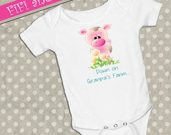 "Piggy ""Down on Grandpa's Farm..."" on White onsie Snap bottom all in one bodysuit, cute pig, pink pig"