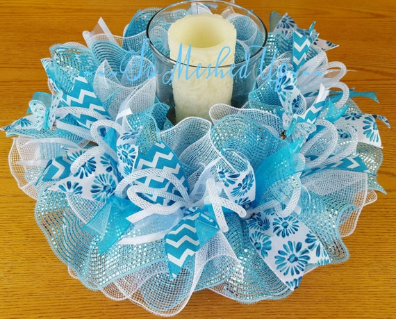 Items similar to deco mesh spring summer table centerpiece