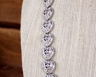 Vintage Silver Tone Heart Necklace