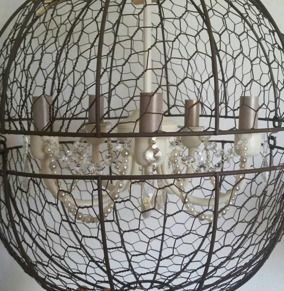 shabby chic lighting orb chandelier light orb light fixture shabby. Black Bedroom Furniture Sets. Home Design Ideas