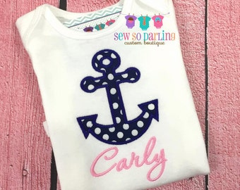 Baby Girl Anchor outfit - Nautical outfit - Baby Girl Clothes - Girl Nautical Shirt