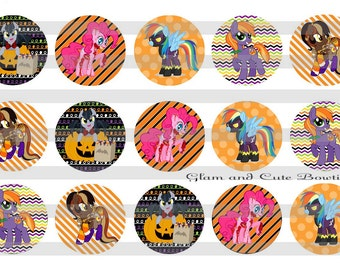 """HALLOWEEN My little Pony INSTANT DOWNLOAD Bottle Cap Images 4x6 sheet 1"""" circles"""