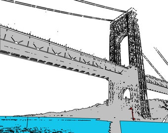 PRINT of G W Bridge with light blue water - 8x10 PRINT