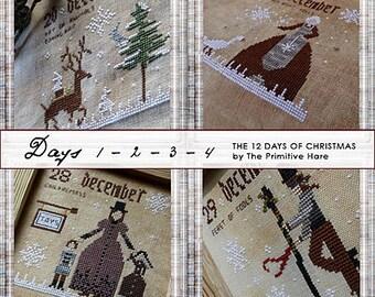 Pattern: 12 Days of Christmas Cross Stitch Set of 3 Patterns (12 designs) - Primitive Hare