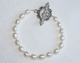 Cultured Pearl Bracelet - Pearl Bracelet - June Birthstone - Handcrafted - Artisan - Gift for Her