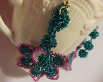 petrol purple pink beaded crochet earrings, magenta flower, dangle earrings, gift for her, romantic jewelry
