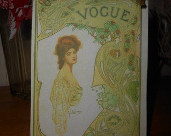hanging wooden sign vogue magazine front page edwardian lady handmade recycled wood shabby chic french decor