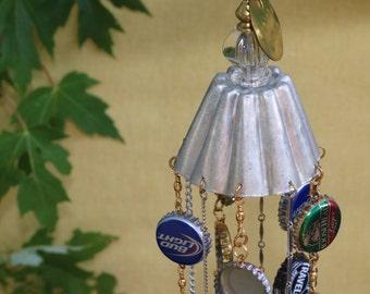 BottleCap Wind Chimes, Garden Art, Yard Art, Upcycled, Repurposed, Vintage, Handmade Wind Chimes, OOAK