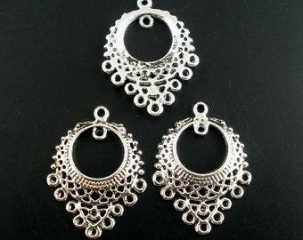 4 Antiqued Silver Bib Style Concave Chandeliers/Connectors