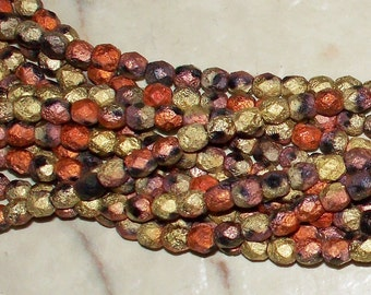NEW CZECH California Matted Gold Rush Faceted Etched Fire Polished Beads 4x4MM