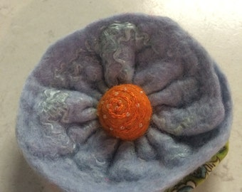 Hand Felted  Blue Flower Brooch with beading and embroidery