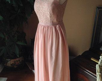 Blush Pink lace bridesmaid dress with chiffon skirt - llusion neckline