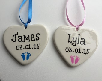 New baby Personalised hand painted Ceramic hanging heart