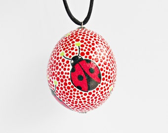 FREE SHIPPING, Handmade egg, Chicken egg shell, Easter home decorations, Easter decor, Easter ladybug, Pysanka, Pysanky, Red, White, Black
