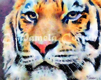 "Bengal Tiger Watercolor: Clemson Tigers watercolor painting print 11x15"""